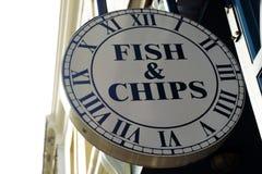 De Vissen en Chips Sign van Londen Royalty-vrije Stock Foto's