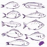 De vissen van de inkttekening Stock Afbeeldingen