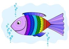 De vissen van de regenboog, die met symbolen worden behandeld Stock Afbeelding