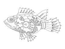 De vissen van de Steampunkstijl het kleuren boekvector Royalty-vrije Stock Foto's