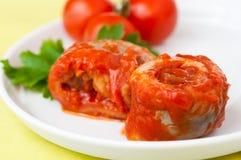 De vissen van haringen rollen in tomatensaus Stock Fotografie