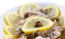 De vissen van het voedsel in olie Stock Fotografie