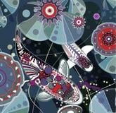 De vissen van Koi. Vector illustratie Stock Afbeelding