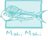 De Vissen van Mahi van Mahi in blauw Royalty-vrije Stock Afbeeldingen