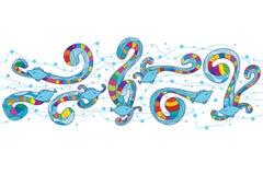 De vissen zwemmen kleurrijk centrum vector illustratie