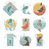 De vissende club of vissersvissen vangen vectorpictogrammen Stock Afbeeldingen