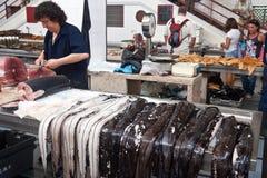 De vissenmarkt van Funchal, madera Royalty-vrije Stock Foto's