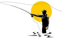 De visser die van de vlieg een forel vangt Stock Afbeeldingen