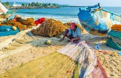 De visser met netto Royalty-vrije Stock Afbeeldingen