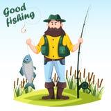 De visser met staaf of het spinnen en catched vissen stock illustratie
