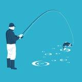 De visser trekt de vangst Stock Fotografie
