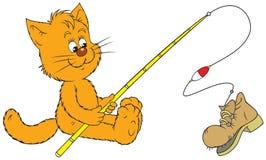 De visser van de kat Stock Afbeelding