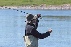 De visser van de vlieg Stock Foto