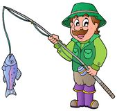 De visser van het beeldverhaal met staaf en vissen Stock Afbeeldingen