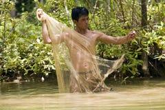 De visserij met werpt netto royalty-vrije stock foto