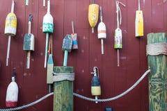 De visserij van boeien op muur Royalty-vrije Stock Afbeeldingen