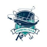 De visserij van club vectorpictogram met vissenvangst Stock Foto