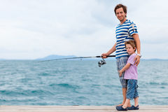 De visserij van de familie stock afbeelding