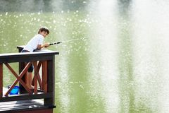 De visserij van de jongen Stock Foto