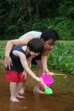 De visserij van de vader & van de zoon Stock Foto