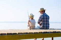 De visserij van de vader en van de dochter Stock Foto
