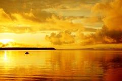 De visserij van de zonsondergang Stock Afbeeldingen