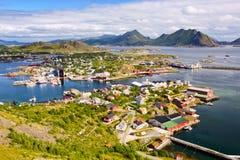 De visserij van dorp Ballstad stock afbeelding