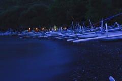 De visserij van dorp bij nacht Stock Foto