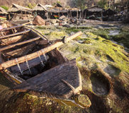 De visserij van dorp Lamalera wordt gevestigd op het Eiland Lembata Stock Afbeelding