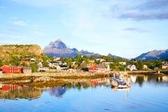 De visserij van dorp in Lofoten stock foto's