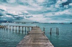 De visserij van dorp in Penang bij bewolkte dag Stock Foto