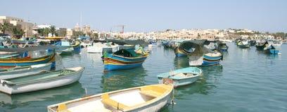 De visserij van dorp van Marsaxlokk, Malta Stock Afbeeldingen
