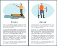 De visserij van Freetime-Activiteitenvisser met Staaf en Vangst vector illustratie