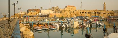 De visserij van haven in de oude stad van Acre Akko Stock Afbeelding