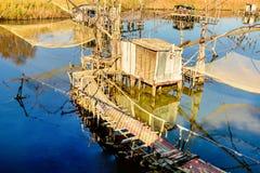 De visserij van hutten op Haven Milena dichtbij Ulcinj-stad, Montenegro Stock Afbeelding
