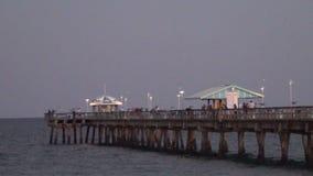 De visserij van pijler bij nacht Stock Foto's
