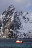 De visserij van schip in Lofoten-Archipel stock foto's