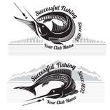 De visserij van stijletiketten met vissen en landschappenbos en bergen Royalty-vrije Stock Foto
