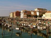 De visserij van vallen in Chioggia Stock Afbeelding