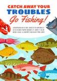 De visserij van vangst vectoraffiche met zeevruchten en vissen stock illustratie
