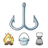 De visserij van vastgestelde inzamelingspictogrammen in van de het symboolvoorraad van de beeldverhaalstijl vector de illustratie vector illustratie