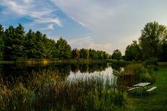 De visserij van vijver bij Aluinkreek in Centraal Ohio stock fotografie