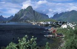 De visserijdorp van Noorwegen Stock Foto