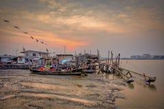 De visserijdorp van Thailand stock foto