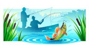 De vissers die in boot vissen catched grote vissen royalty-vrije illustratie