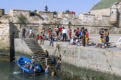 De vissers keren met hun vangst terug naar de bezige visserijhaven in Essaouira in Marokko Stock Fotografie
