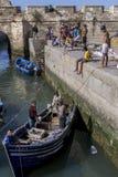 De vissers keren met hun vangst terug naar de bezige visserijhaven in Essaouira in Marokko Stock Afbeelding