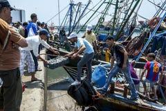 De vissers maken hun vangst van een treiler bij de bezige haven leeg in Essaouira in Marokko Royalty-vrije Stock Afbeelding