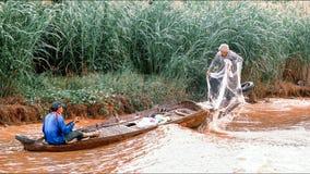 De vissers op Tonle ondermijnen Meer Royalty-vrije Stock Foto