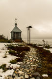 De vissers` s kapel op de kust van het Witte overzees stock foto's